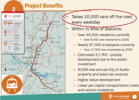 "Screenshot from Project Connect slide presentation claiming Highland-Riverside rail plan would remove ""10,000 cars"" a day."