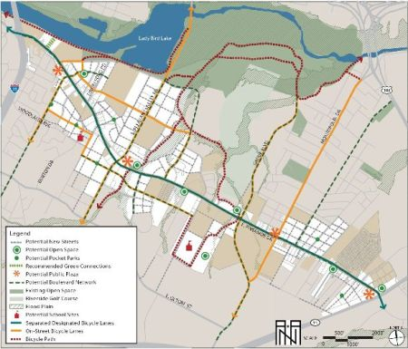 East Riverside development plan, promoted by City, is a bonanza for powerful real estate development interests. Gentrification is replacing lower-cost affordable apartments with expensive condos and upscale commercial and office developments, many with premium river views. Map: City of Austin via Goodlife Realty.