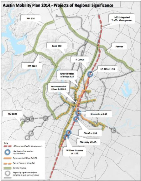 "City's ""2014 Strategic Mobility Plan"" is packed with road projects that must be funded before urban rail bonds can be issued. Potential cost dwarfs cost of rail. (""Future Phases of Urban Rail"" dashed lines on map are likely just sucker bait to lure support from gullible voters; fine print specifies merely ""high-capacity transit"" which could mean ""bus rapid transit"", term used to describe MetroRapid bus service.) Map: Screenshot from SMP."