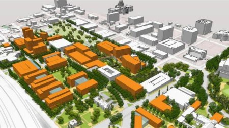 Simulation of future UT medical school development, providing expansion opportunities for University of Texas, Seton medical interests, and other real estate development investors. Graphic via KUT.org.