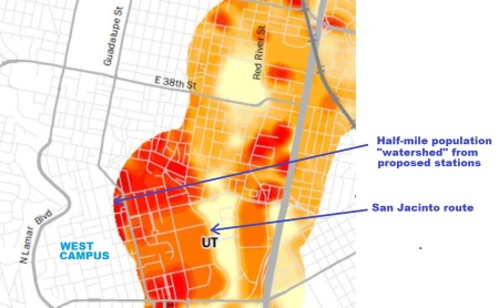 Project Connect map showing half-mile radius from proposed urban rail stations. Except for a mainly commercial and retail sliver along the Drag, most of high-density West Campus residential neighborhood is beyond station access radius.