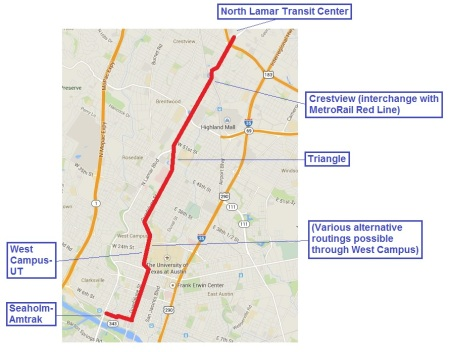 "Proposed 6.8-mile ""Plan B"" light rail transit line in Guadalupe-Lamar corridor would have 17 stations and connect  the North Lamar Transit Center at U.S> 183 with Crestview, the Triangle, UT and the West Campus, the Capitol Complex, the CBD, and the Seaholm-Amtrak area. It's projected to serve 3 times the ridership of the Prop. 1 Highland-Riverside rail line at slightly over half the capital cost."