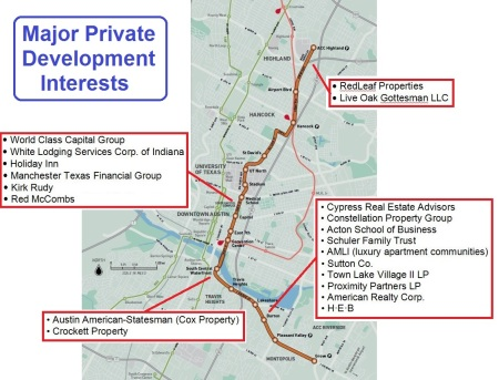 Map of urban rail line proposed for bond funding in November shows major private development interests and property owners that stand to benefit from selected route. Graphic: ARN.
