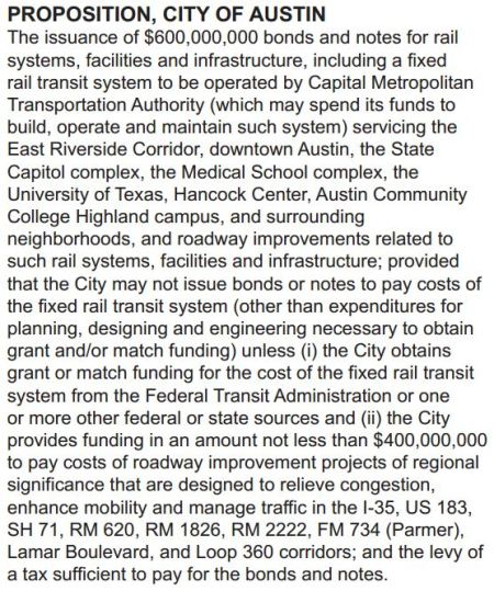 "Excerpt from Travis County's sample ballot for Nov. 4th shows that the urban rail bonds measure will be titled just ""Proposition, City of Austin"". Screenshot by L. Henry."