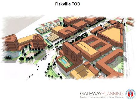 Slide from 2012 Gateway presentation to TWG showed rendering of possible TOD in Fiskville corridor near Airport Blvd.
