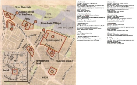 Map and key of East Riverside developments as of August 2007. Screenshot of scan of Statesman map by Dave Dobbs.