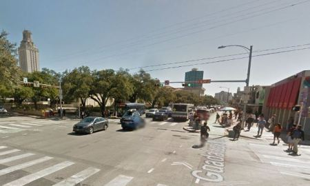 Guadalupe St. at W. 24th St., looking south. The Drag, passing one of the densest residential neighborhoods in Texas and busy commercial district, is major segment of high- travel-density Guadalupe-Lamar corridor. Photo: Google Maps Streetview.