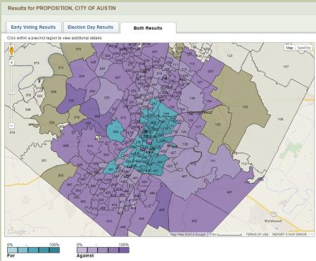"Screenshot of interactive map of Nov. 4th ""urban rail"" vote by precinct. Source: Travis County. (Click to enlarge.)"
