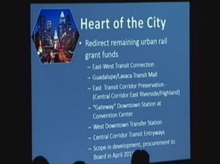 "Capital Metro's ""Heart of the City"" latest projects propose to usurp millions in urban rail planning funds for other purposes. Screenshot from video of Dec. 15th Capital Metro board meeting."