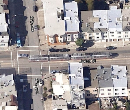Light rail in Guadalupe and North Lamar could be modeled after San Francisco's N-Line route in Judah St., seen in this satellite view from Google Maps. Screenshot: Dave Dobbs.
