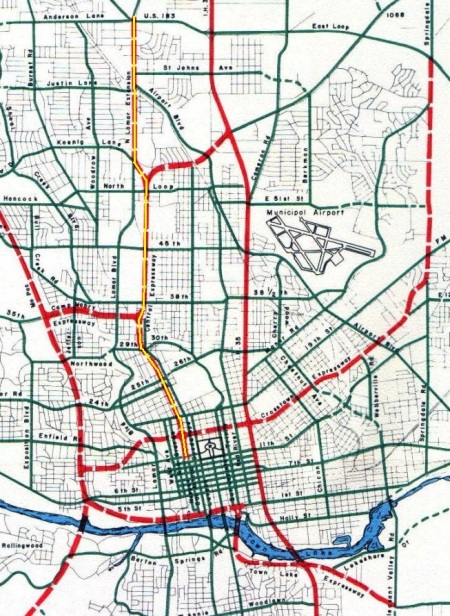 Central Freeway (annotated here with yellow line in center of dashed red line). (Click to enlarge.)