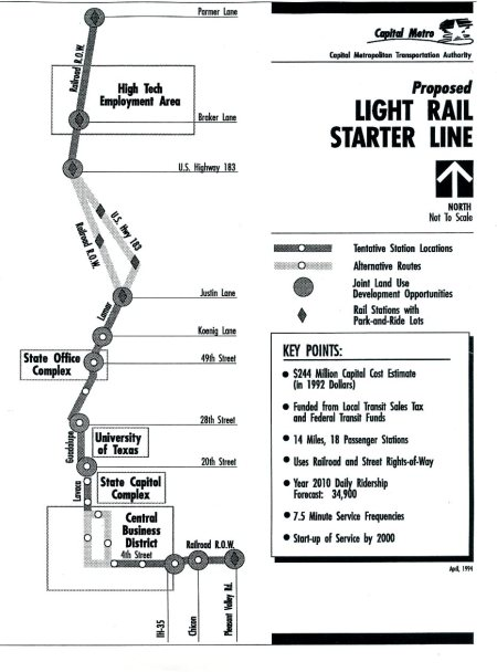 Capital Metro LRT plan for Guadalupe-Lamar and northwest, 1994. Map: CMTA. (Click to enlarge.)