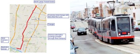 LEFT: Map of proposed 6.8-mile light rail route in Guadalupe-Lamar corridor. (Map: ARN.) RIGHT: San Francisco light rail train in dedicated lanes in Judah St., similar to Guadalupe-Lamar corridor. (Photo: Eric Haas.)