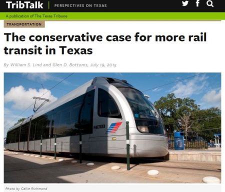 TribTalk op-ed headline with photo of Houston light rail train. (Screenshot: ARN)
