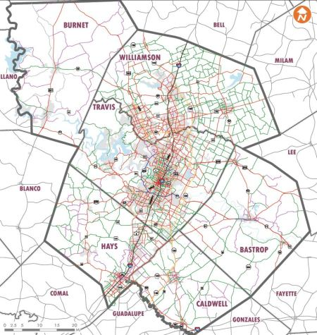 CAMPO's 2040 regional roadway plan emphasizes expanding web of roadways catering to real estate development, intensifying addiction to private motor vehicle travel, and accelerating sprawl. Map: CAMPO 2040 Draft Plan.
