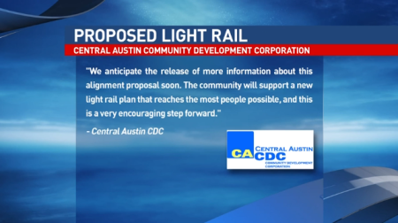 CACDC statement applauding Mobility ATX report, as shown on KEYE-TV News. Screenshot: ATXRail.