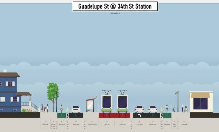 Proposed 34th St. station (platform for southbound direction shown). Graphic: Andrew Mayer. (Click to enlarge.)