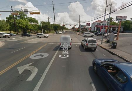 Street view of Guadalupe at 38th St. intersection. Graphic: Google Street View. (Click to enlarge.)