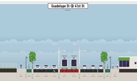 Proposed LRT alignment in segment of Guadalupe between 38th-45th St. Graphic: Andrew Mayer. (Click to enlarge.)
