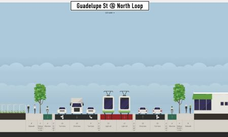 Proposed typical LRT alignment in North Lamar. Graphic: Andrew Mayer. (Click to enlarge.)