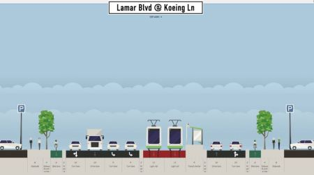 Proposed Koenig Lane station (platform for northbound direction shown). Graphic: Andrew Mayer. (Click to enlarge.)