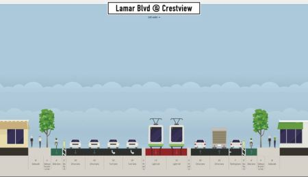 Proposed typical LRT alignment at Crestview. Graphic: Andrew Mayer. (Click to enlarge.)