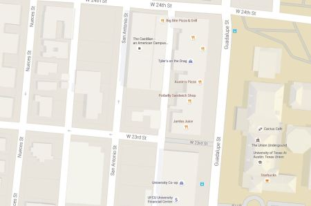 Map snippet shows Guadalupe St. at right (east), with University of Texas campus bordering on east side; San Antonio and Nueces St. in West Campus neighborhood (west of Guadalupe). Graphic: Google Maps. (Click to enlarge.)