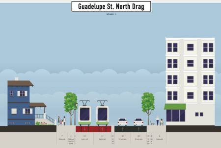 Proposed LRT alignment in narrow segment of Drag between 24th-29th St. Graphic: Andrew Mayer. (Click to enlarge.)