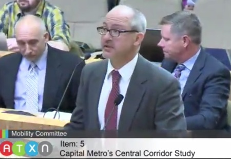 Capital Metro's planning chief Todd Hemingson explains CCCTA study to Austin Mobility Committee on Feb. 3rd. Photo: ARN screenshot from official video.