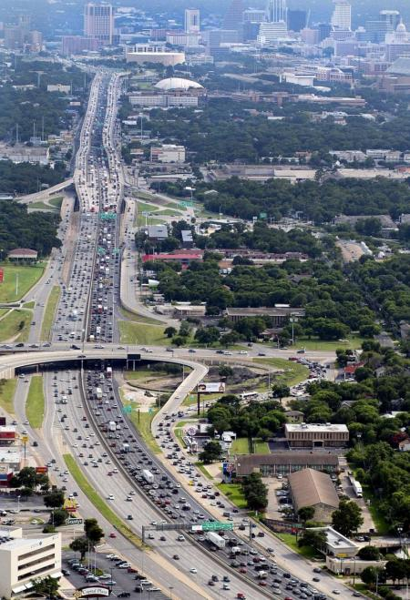 "I-35 congestion, considered worst in Texas. Texas Transportation Institute has concluded that ""additional capacity provides little relief..."". Source: TTI."