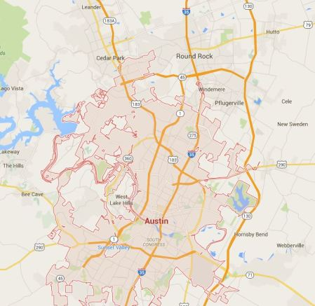 Austin metro area. Graphic: Google Maps.