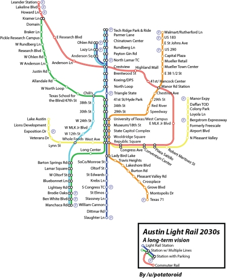 Proposed citywide urban rail system. Map: Andrew Mayer.