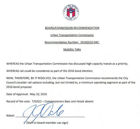 Resolution passed by Urban Transportation Commission recommends City Council consider including rail transit in November bond package. Screenshot by ARN from COA PDF.