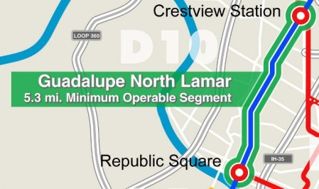 5.3-mile Minimum Operable Segment light rail line proposed by CACDC. Graphic: Screenshot from CACDC map.