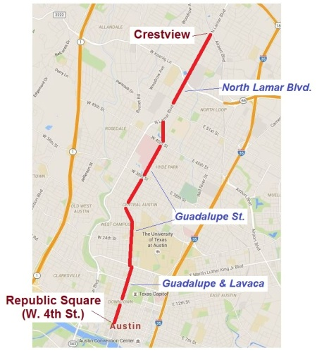 Wider-view map showing 5.3-mile LRT MOS route strategically serving busy local Guadalupe-Lamar corridor between Loop 1 (MoPac) and I-35. Graphic: ARN.