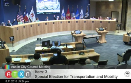 "Austin City Council votes unanimously for proposed ""Go Big"" $720 million bond measure on Aug. 11th. Photo: Screen capture from ATXN video."