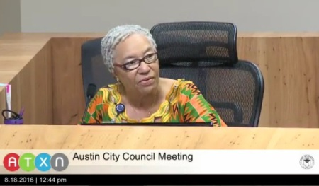 "Councilmember Ora Houston in City Council meeting of Aug. 18th, during which she was only councilmember to vote against proposed ""Go Big"" bond package. Photo: Screen capture from ATXN video."