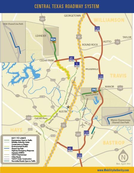 Central Texas Roadway System – brand-new highways (mostly tollways) under construction and planned. Map: CTRMA.