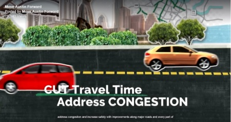 "TV ad promoting ""Mobility Bond"" package focuses on benefits for private motor vehicle traffic.  Graphic: Screenshot of Move Austin Forward TV ad."