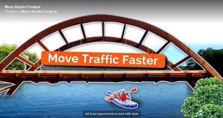 "Another TV ad screenshot promoting ""Mobility Bond"" package promises that bonds will ""Move Traffic Faster"".  Graphic: Screenshot of Move Austin Forward TV ad."