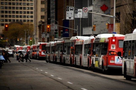 Ottawa Transitway (BRT) bus congestion in downtown, 2011. Bus congestion has persuaded Ottawa to launch LRT project, now under construction. The possibility of severe bus overcrowding in downtown Austin led Capital Metro board to reject a proposed BRT line in I-35 in favor of LRT in 1989.
