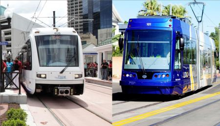 New-Start light rail transit (LRT) systems have proliferated in cities across USA while Austin urban rail planning has languished. LEFT: Norfolk's new LRT line opened in 2011. (Photo: D. Allen Covey.) RIGHT: Tucson's new SunLink streetcar opened in 2014. (Photo: Tyler Baker.)