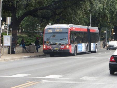 "Capital Metro and Austin officials have touted MetroRapid bus service as ""rapid transit"". Photo: L. Henry."